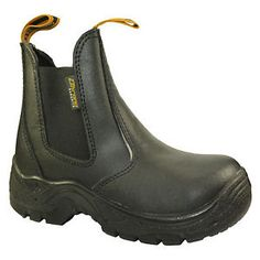 Mens safety work boots ladies shoes steel toe cap slip on dealer boots  sizes new