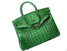 Vintage Alligator Birkin Style Bag Purse Tote Handbag Green 25cm  S * You can get more details by clicking on the image.