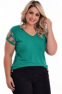 Blusa Plus Size Recortes Green