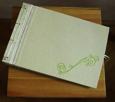 Handmade photo album, japanese binding, covered with canvas nad handmade paper