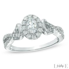 Vera Wang LOVE Collection 3/4 CT. T.W. Oval Diamond Frame Engagement Ring in 14K White Gold