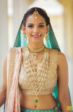bridal satlada, bridal necklace, layered necklaces, polki jewellery, white and gold bridal jewellery