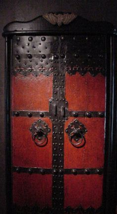 """We found these doors at an antique dealer's warehouse and they were so unique that we had to have them. The price tag was a little """"pricey"""" but they were in decent condition and we really liked them. Door Gate, Door Hinges, Door Knockers, Door Knobs, Entrance Doors, Doorway, Turandot Opera, Chinese Door, Closed Doors"""
