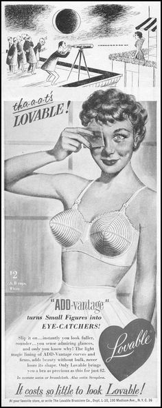 Vintage ad for bullet bras, featuring a perv with a telescope