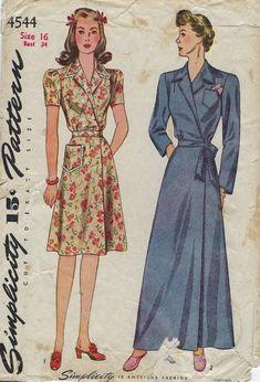 Housedress Bathrobe Housecoat Short Long Simplicity UNPRINTED Pattern 6158  Size 16 a3dd2e36a