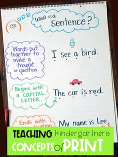 Why is instruction in Concepts of Print critical for pre-readers? What is includ… Why is instruction in Concepts of Print critical for pre-readers? Kindergarten Anchor Charts, Kindergarten Lesson Plans, Kindergarten Language Arts, Kindergarten Writing, Kindergarten Teachers, Kindergarten Graduation, Kindergarten Activities, Kindergarten Design, Preschool