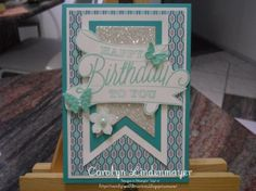Birthday Winter Frost -  Carolyn Lindenmayer Qld Aust, I've used the set Another great year for this card combined with Winter Frost dsp, Petite Petals, Banner Framelits and Beautiful Wings die. Cardstock - Bermuda Bay, Whisper White, Coastal Cabana and Silver Glimmer