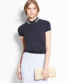 Jeweled Collar Polo Shirt | Ann Taylor