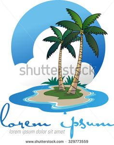 Abstract vector shape as the coconut island resort logo - stock vector