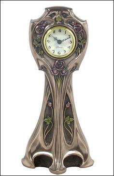 Rose Art Nouveau Clock in Bronze
