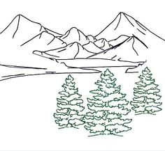 Embroidery Design Fir Tree Trio Outline, Mountain Landscape Redwork, for Tote Bag, Pillow, Room Decor - Stickerei Ideen Embroidery Files, Machine Embroidery Designs, Embroidery Stitches, Embroidery Patterns, Hand Embroidery, Crochet Patterns, Mountain Outline, Mountain Drawing, Tree Outline
