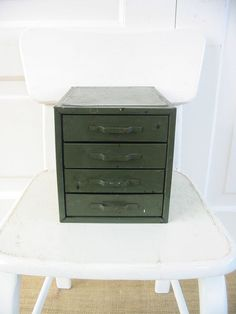 Vintage Metal Drawers Organizer Box Case Army Green by vintagejane, $39.00
