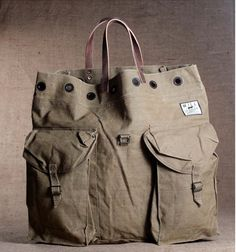 Vintage will leather goods us army tote bag...