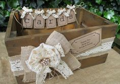 Wooden Crate Wedding Card Post Box Handmade Bunting by TheIvoryBow