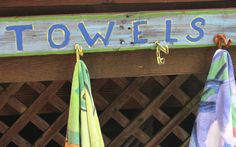 SMALL  Towel rack for pool towels or beach by offthewallpainting, $40.00