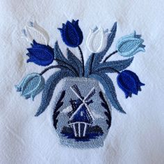 Embroidered tulips kitchen towel windmill towel by LuvHooURDesigns