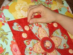 Hand Applique -  Like the large scale prints.