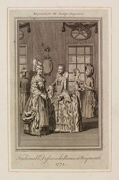 Fashionable Dresses in the Rooms in Weymouth 1774        Object:        Fashion plate      Place of origin:        London, England (printed)      Date:        1774 (printed)      Artist/Maker:        unknown (production)      Museum number:        E.2262-1888      Gallery location:        Prints & Drawings Study Room, level C, case GG, shelf 83, box B