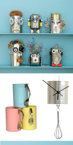 #Latas, #boiteconserve, #metalcan Vbs Crafts, Crafts For Kids, Tin Man, Conservation, Floating Shelves, Decoration, Activities For Kids, Repurposed, Creations