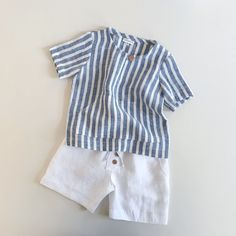 Newport Shirt in Blue stripe & Cape Cod Shorts in White Linen Both availabl.-- Newport Shirt in Blue stripe & Cape Cod Shorts in White Linen Both available in sizes Toddler Fashion, Toddler Outfits, Baby Boy Outfits, Kids Outfits, Kids Fashion, Sewing Kids Clothes, Baby Kids Clothes, Baby Sewing, Kids Dress Wear