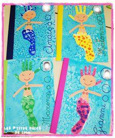Traces en maternelle : doigts mains et pieds ... - Les p'tites décos de Lolo Diy Crafts To Do, Sea Crafts, Fun Crafts For Kids, Toddler Crafts, Art For Kids, Group Art Projects, Summer Art Projects, Cool Art Projects, Summer Crafts