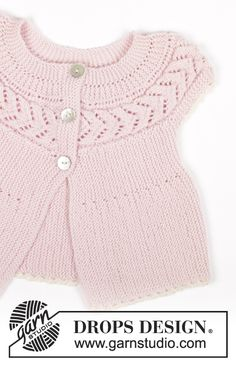 Ideas for knitting baby cardigan pattern drops design Baby Knitting Patterns, Baby Knitting Free, Knitting For Kids, Baby Patterns, Knit Cardigan Pattern, Knitted Baby Cardigan, Knit Baby Sweaters, Drops Design, Drops Baby