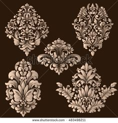 Vector set of damask ornamental elements. Elegant floral abstract elements for design. Perfect for invitations, cards etc. - New Deko Sites Islamic Art Pattern, Pattern Art, Ornaments Design, Vintage Ornaments, Stencil Painting, Fabric Painting, Victorian Frame, Page Decoration, Mehndi Style