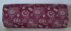 Clutch purse, cerise silk with floral pattern, vintage Japanese, c.1967
