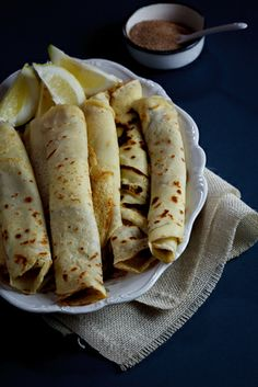 Pancakes with Cinnamon Sugar. A South-African favourite Pancakes (crepes) with cinnamon-sugar. The ultimate comfort food. Crepe Suzette, Pancake Roll, Strawberry Crepes, Chocolate Dipping Sauce, South African Recipes, Pancakes And Waffles, Galette, Great Recipes, Fall Recipes