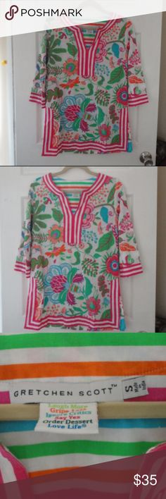 Gretchen Scott Isabel's Garden Tunic Small Gretchen Scott Isabel's Garden Tunic Small. Perfect condition.  Pink, green, blue, orange. Top, tunic, blouse, shirt. Gretchen Scott Tops Tunics