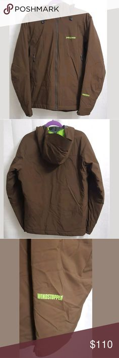 "Patagonia Windstopper Brown Puffer Jacket MEDIUM M This is a Patagonia Windstopper Brown Puffer Jacket MEDIUM Mens. There is one inside zippered pocket. There are no stains, snags, or holes.  Measurements: (When laid flat) Armpit to armpit: 21"" Around the chest 42"" Top of shoulder to bottom: 27""  Product material: Nylon Polyester   Inventory #: B Patagonia Jackets & Coats Puffers"
