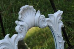 White Shabby Chic ornate Mirror by RecycleDesign1971 on Etsy, $35.00