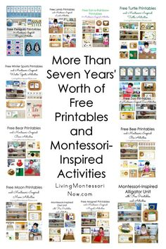 "The post ""Free printables and Montessori-inspired activities from 2017 along with more than 7 years& worth of free printables and activities for preschoolers through early elementary & Living Montessori Now appeared first on Pink Unicorn Kindergarten Maria Montessori, Montessori Kindergarten, Montessori Playroom, Montessori Homeschool, Montessori Activities, Montessori Baby, Infant Activities, Online Homeschooling, Vestibular Activities"