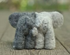 Needle Felted Elephant Couple with Heart by scratchcraft on Etsy