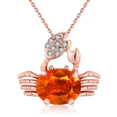 18K Rose Gold Plated Citrine CrabNecklace. * Spoil yourself or someone you know with this beautiful irresistible piece, for any occasion and sure to get a lot of attention!  Special gift idea. No matter if you're shopping for your own mother, or your grandmother, wife, daughter, or granddaughter, touch their heart with this beautiful, stunning and unique pair of jewelry. * Size: Pendant Dimensions:2X2.2CM 45+5CM * Material: Zircon Top Grade Crystal * Weight(grams): 6.40