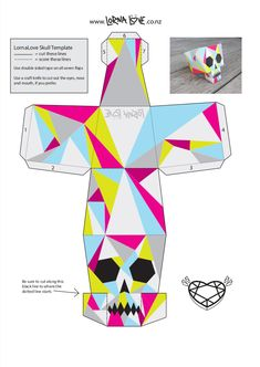 DIY papercraft skull - you can make this as well easily :) Instruções Origami, 3d Paper Crafts, Paper Crafts Origami, Paper Toys, Diy And Crafts, Arts And Crafts, Origami Templates, Box Templates, Foam Crafts
