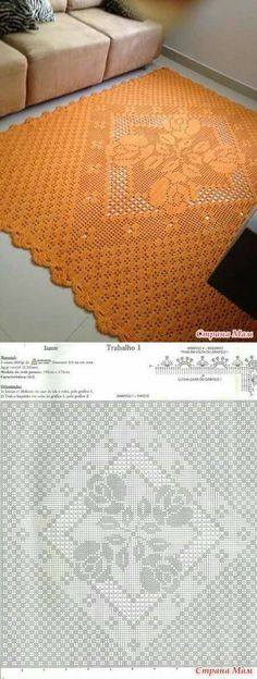 Ideas For Crochet Patterns Free Tablecloth Rugs Filet Crochet, Crochet Doily Rug, Crochet Carpet, Crochet Flower Patterns, Crochet Tablecloth, Crochet Diagram, Doily Patterns, Crochet Home, Crochet Granny