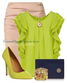 """""""Chartreuse & Navy WorkWear"""" by casuality ❤ liked on Polyvore featuring Paule Ka, Office, Tory Burch, Swarovski and David Yurman"""
