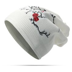 solid plum embroidery bonnet knitted hats (125 NOK) ❤ liked on Polyvore featuring accessories, hats, white, white beanie hat, embroidered beanie, white beanie, print hats and white hat