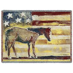This patriotic inspired throw's image is by artist Swearngin. A horse silhouette is overlaid on a rustic American flag. Made in the USA