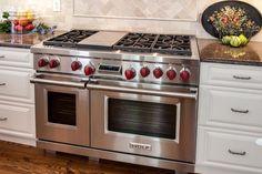 "Wolf Stainless Steel 36"" Gas Range. Remodel by JM Kitchen & Bath Denver / Castle Rock Colorado."