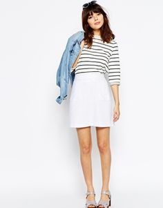ASOS A-Line Linen Skirt with Pocket Detail