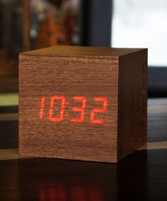 Teak Wood Hidden Clock Cube - Looks like a wood box but will display the time or temperature when you snap your fingers or tap the top of the cube.