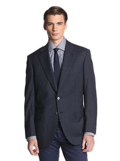 67% OFF Brioni Men's Checked Two Button Sportcoat (Blue)