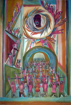"""""""Esclavos"""" , acrylic on canvas, 95 x 130 cm, 2004 .Painting of the Serie Simbolism for sale by artist Diego Manuel"""