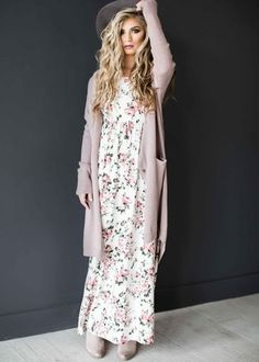 Team a rose pink open cardigan with a white floral maxi dress and you& loo. - Outfits - Team a rose pink open cardigan with a white floral maxi dress and you& look like a total bab - Modest Clothing, Modest Dresses, Modest Outfits, Modest Fashion, Cute Dresses, Dress Fashion, Maxi Dresses, Women's Fashion, Fashion Online