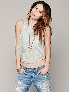 Free People Caged Cutwork Top