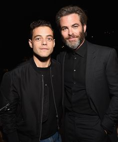 Rami Malek & Chris Pine from Golden Globes 2017 Party Pics The actors mug for the cameras at W magazine, Audi and Moët & Chandon's pre-party at Chateau Marmont.