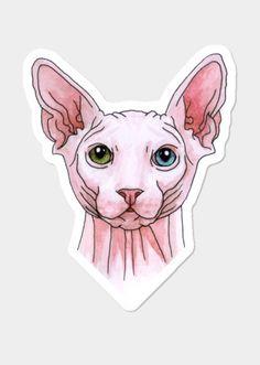 Sphynx cat portrait Sticker by @savousepate on DBH
