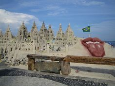 Karin du Maire @Karin H du Maire     · Details  #FriFotos: Sandcastle on Copacabana Beach in Rio de Janeiro, Brazil. Lips and tongue for the Rolling Stones concert! flic.kr/p/95xRew